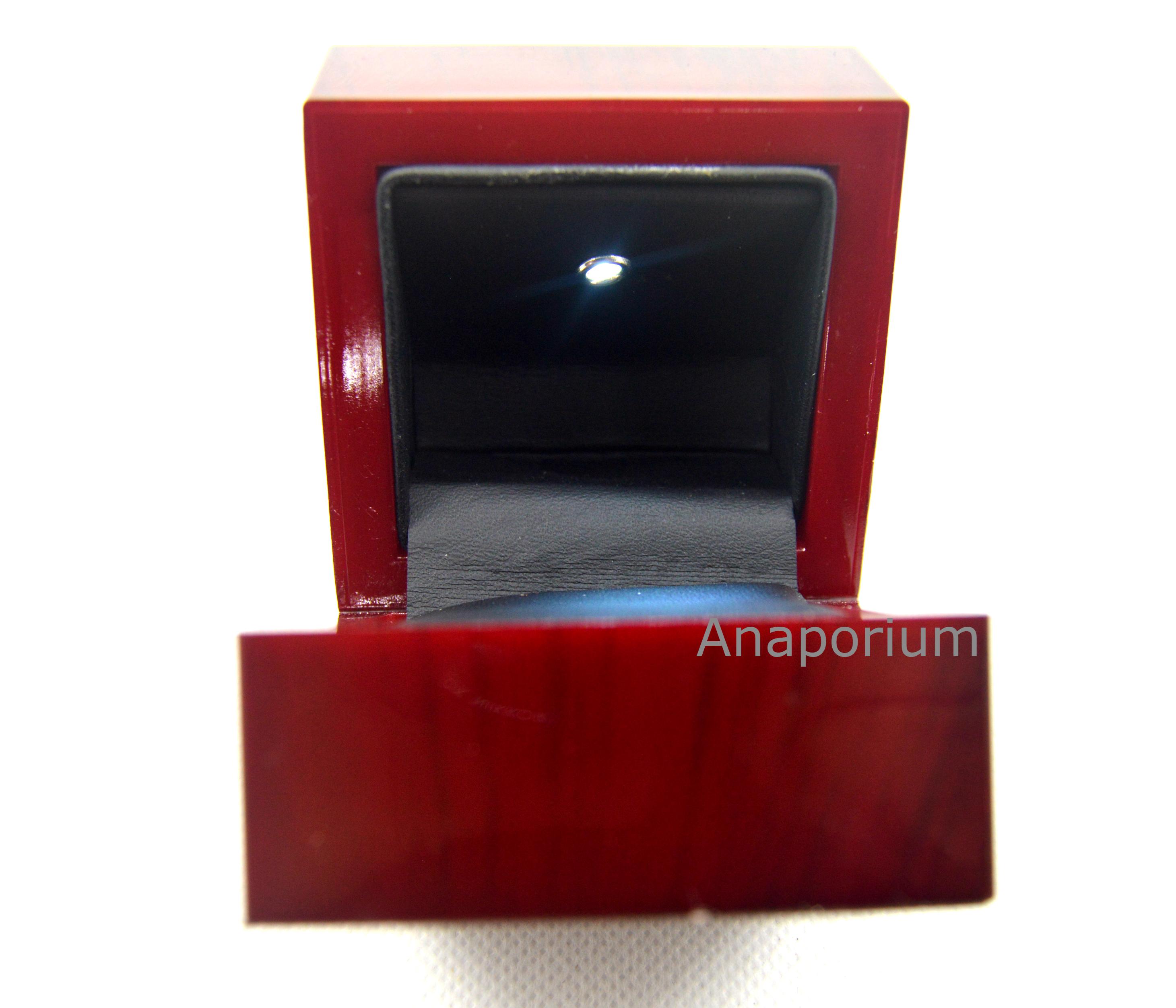 Cherry Wood Finish Led Light Ring Box Black Inside